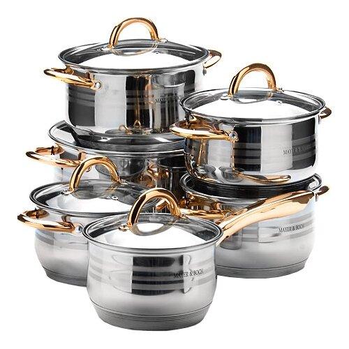 Набор посуды MAYER & BOCH 25158 12 пр. серебристый/золотистый