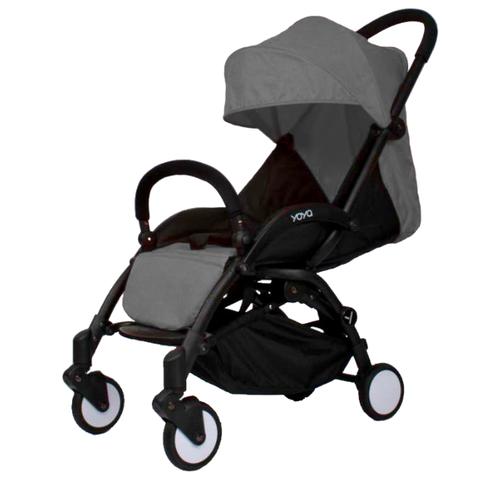 Прогулочная коляска Yoya Premium (дожд., москит., подстак., бампер, сумка-чехол, бамбук. коврик, корзина д/пок, ремешок на руку, накидка на ножки) серый, цвет шасси: черный
