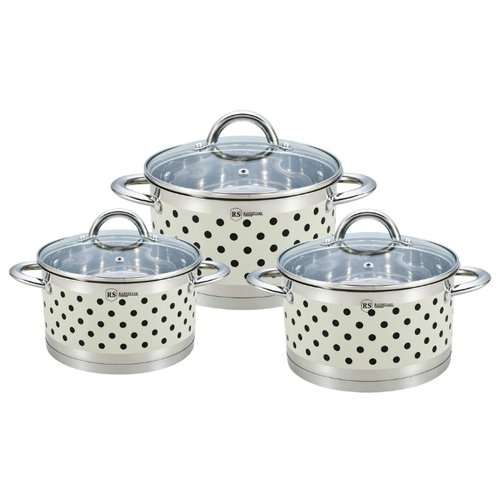 Набор кастрюль Rainstahl 1626-06RS\CW 6 пр. кремовый в горошек набор посуды rainstahl 6 предметов 1616 06rs cw