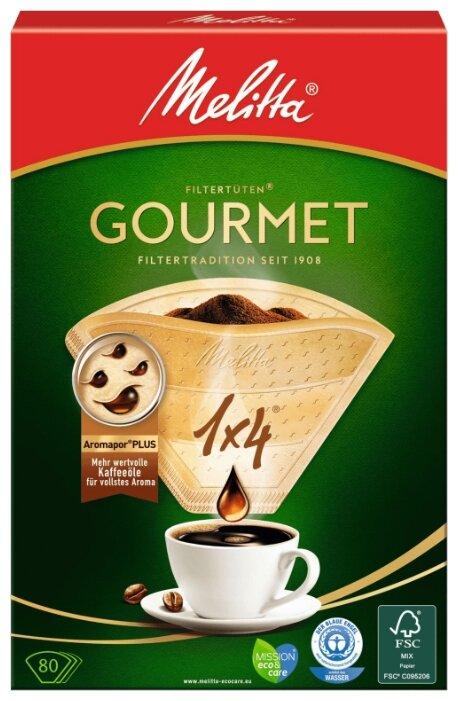 Одноразовые фильтры для капельной кофеварки Melitta Gourmet коричневые Размер 1х4
