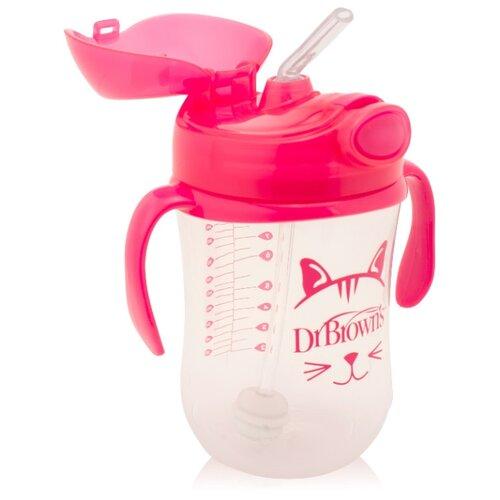 Купить Поильник с трубочкой с грузиком Baby's First Straw Cup, 270 мл розовый, Dr. Brown's, Поильники