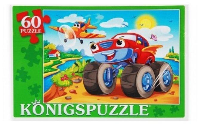 Пазл Рыжий кот Konigspuzzle Машинка и самолет (ПК60-9999), 60 дет.