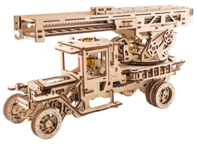 Сборная модель UGEARS Грузовик с пожарной лестницей,
