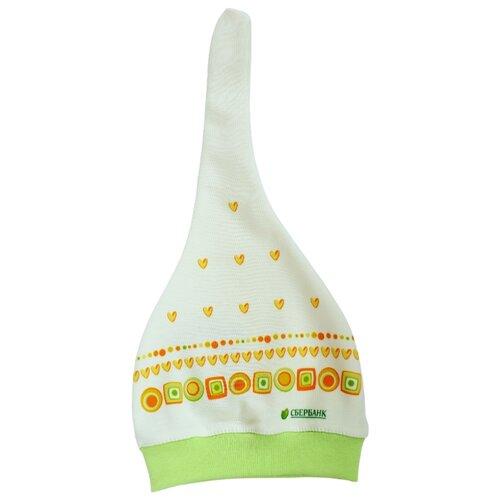 Шапка Орнамент колпачок размер 74/48/6-9 мес., белый/зеленый/оранжевыйОдежда и аксессуары<br>
