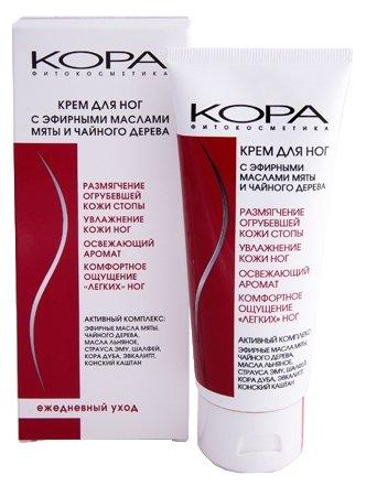 Kora Phitocosmetics Крем для ног с эфирными маслами мяты и чайного дерева