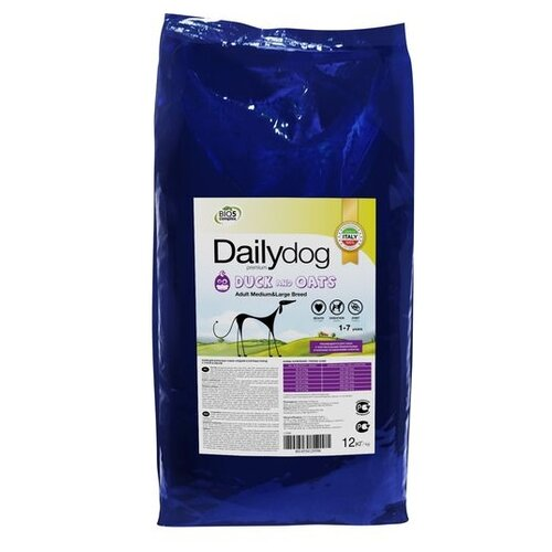 Корм для собак Dailydog (12 кг) Adult Medium and Large Breed Duck and Oats yifang chu oats nutrition and technology