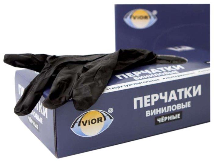 Перчатки Aviora Виниловые неопудренные, 50 пар, размер M, цвет белый