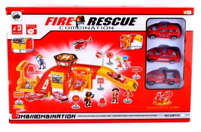 Shantou Gepai Парковка Fire Rescue: двухуровневая парковка, пожарная служба с машинками GM112-7