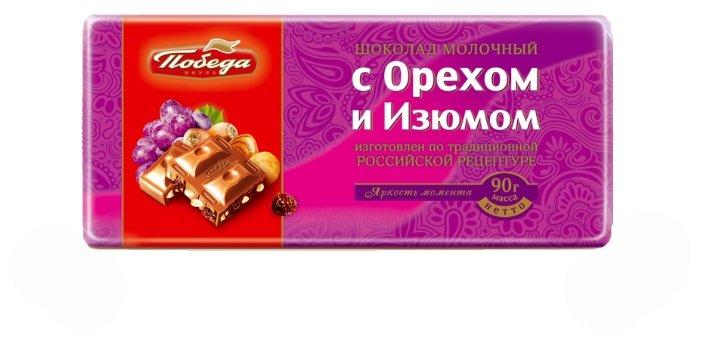 Шоколад Победа вкуса молочный с орехом и изюмом
