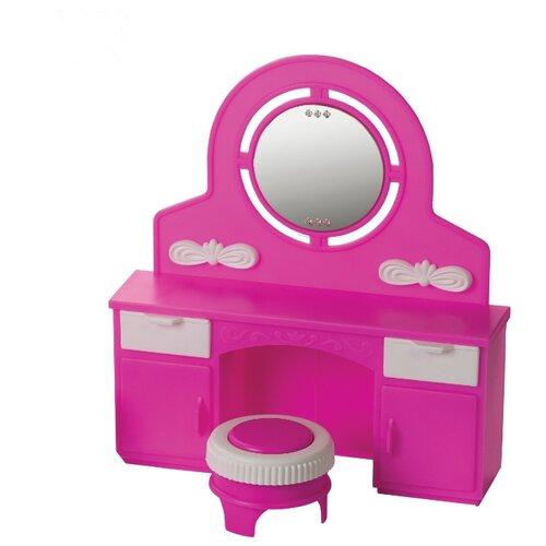 Купить ОГОНЁК Трюмо с пуфом Зефир (С-1467) розовый/белый, Мебель для кукол