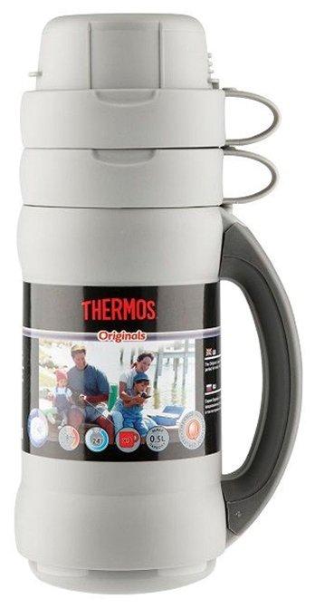 Термос со стеклянной колбой Thermos 34-100 объем 1 л (серый/синий)