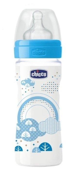 Chicco Бутылочка с соской из силикона Well-Being, переменный поток, 250 мл boy/girl