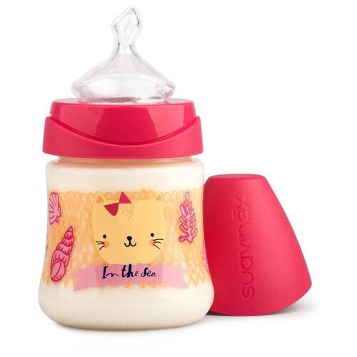 Купить Suavinex Бутылочка полипропиленовая антиколиковая с анатомической силиконовой соской 150 мл Море с рождения, розовый, Бутылочки и ниблеры