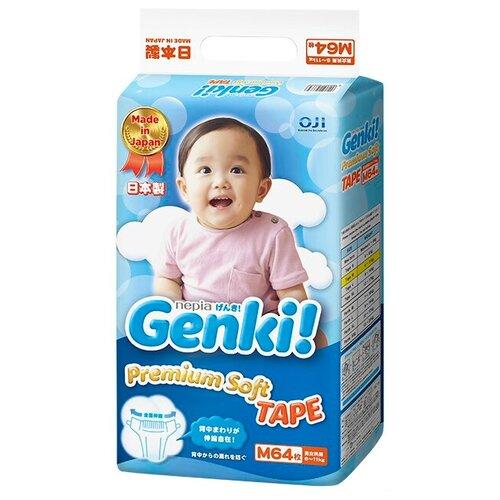 Купить Genki подгузники Premium Soft M (6-11 кг) 64 шт., Подгузники