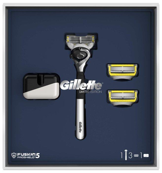 Набор Gillette подарочный: подставка, бритвенный станок Fusion5 ProShield Flexball