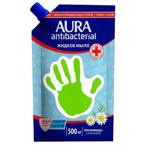 Мыло жидкое Aura с антибактериальным эффектом Ромашка 500 мл с дозатором дойпак/рефиллМыло<br>