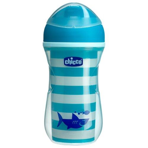 Купить Поильник-непроливайка Chicco Active Cup, 266 мл синий/рисунок акула, Поильники