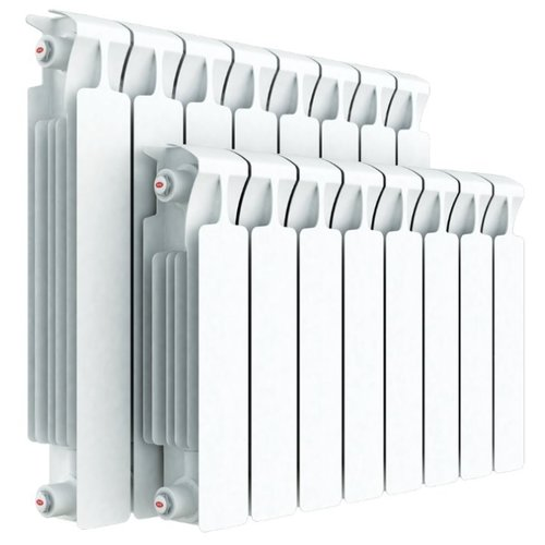 Радиатор секционный биметаллический Rifar Monolit Ventil 350 x8 теплоотдача 1072 Вт, подключение нижнее (справа) RAL 9016
