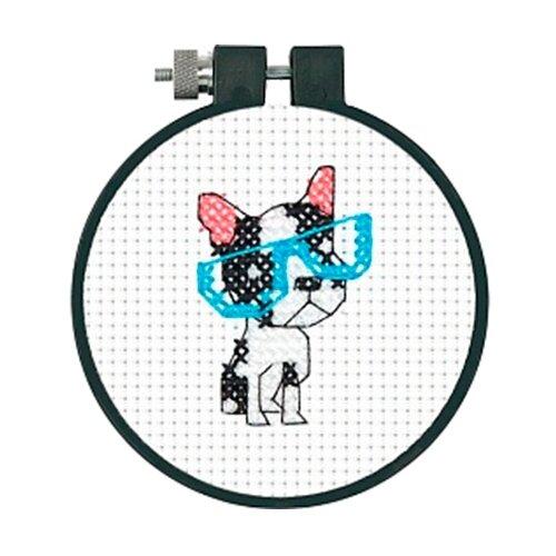Купить Dimensions Набор для вышивания крестиком Умный пес, диаметр 7, 5 см (72-74552), Наборы для вышивания