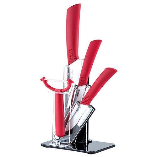 Набор GIPFEL 3 ножа, овощечистка и подставка 8480 белый/красный gipfel подставка для салфеток gipfel mensa