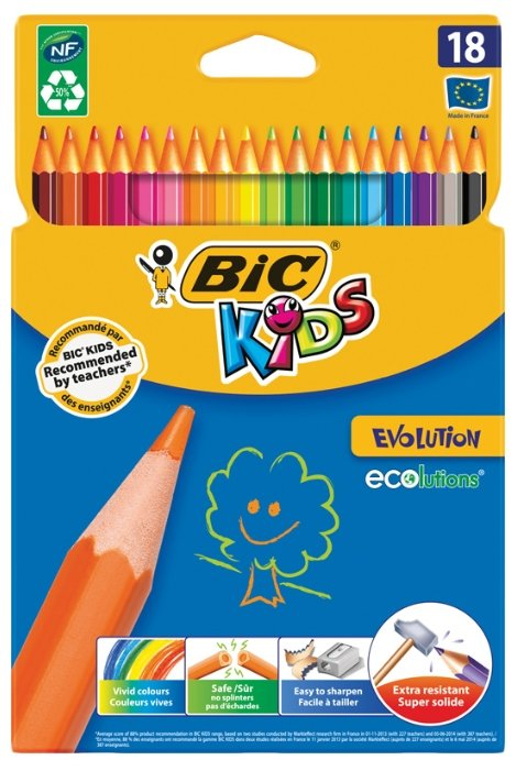 Купить BIC Цветные карандаши Evolution 18 цветов (937513) по низкой цене с доставкой из Яндекс.Маркета (бывший Беру)