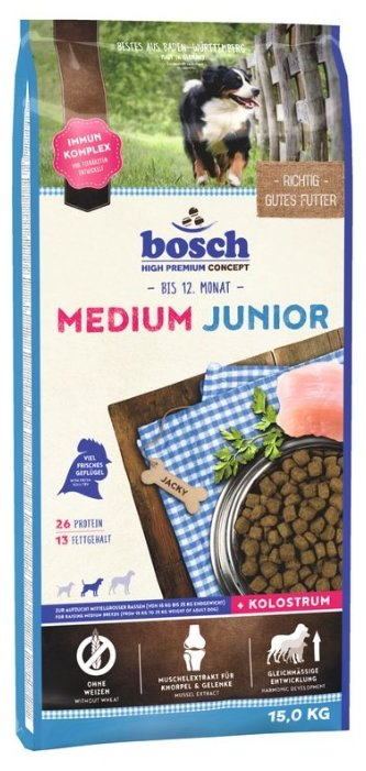 Корм для щенков Bosch Junior 15 кг (для средних пород)