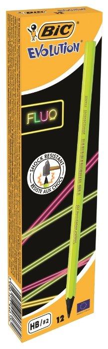 BIC Набор чернографитных карандашей Evolution Fluo 12 шт (940757)