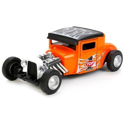 Купить Легковой автомобиль ТЕХНОПАРК Хотрод со светом и звуком (FY6138-S) 12 см оранжевый, Машинки и техника