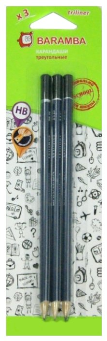 BARAMBA Набор чернографитных карандашей 3 шт (BTHB03)