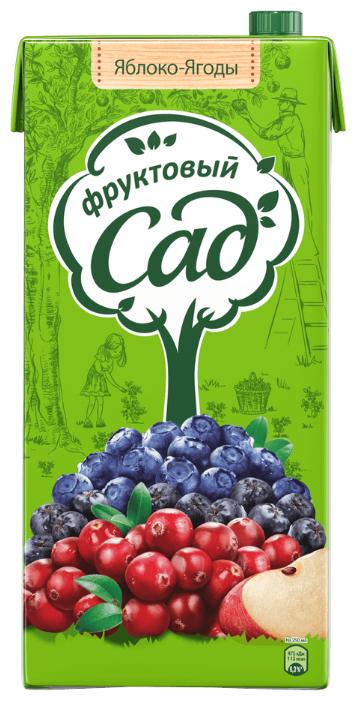 Напиток сокосодержащий Фруктовый сад Яблоко-Ягоды, с крышкой, без сахара