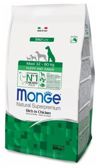 Корм для собак Monge Dog Maxi Puppy&Junior – Курица с рисом. Для щенков и юниоров крупных пород