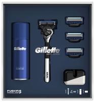 Набор Gillette гель для бритья 75мл, подставка, бритвенный станок Fusion5 ProGlide (ограниченная серия с хромированной ручкой), кассеты