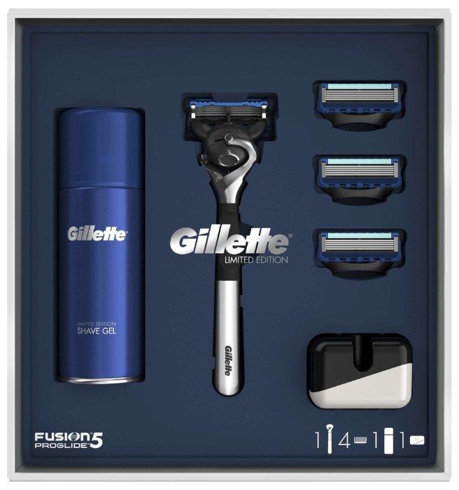 Набор Gillette подарочный: гель для бритья Fusion Ultra Sensitive 75 мл, подставка, бритвенный станок Fusion5 ProGlide Flexball (ограниченная серия с хромированной ручкой)