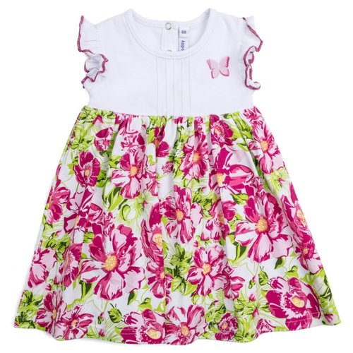 Купить Платье-боди playToday размер 62, белый/розовый/светло-зеленый, Платья и юбки