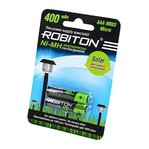 Аккумулятор Ni-Mh 400 мА·ч ROBITON Solar AAA HR03 Micro 400 2 шт блистер аккумулятор ni mh 2700 ма·ч эра c0038458 2 шт блистер