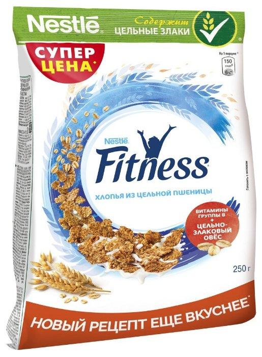 Готовый завтрак Nestle Fitness хлопья из цельной пшеницы, пакет, 250 г