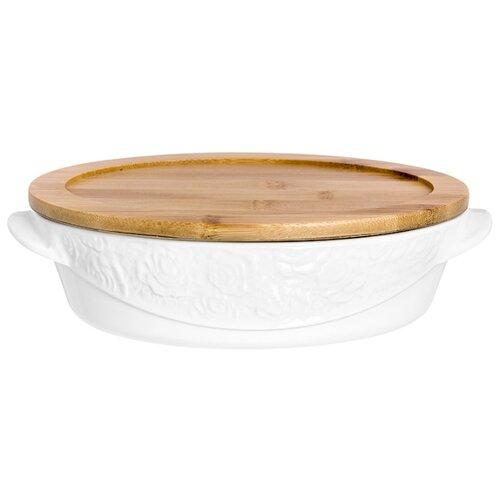 Горшок для запекания Elan gallery Белые розы 860036, 1.1 л (25х17х7 см) кокотница для жюльена elan gallery 110771 0 26 л 15х10х6 см