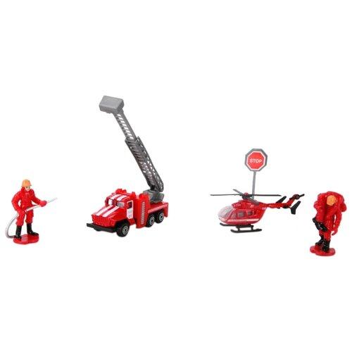 Купить Набор техники ТЕХНОПАРК Пожарная техника Автокран + Вертолет с фигурками (SB-16-37) красный, Машинки и техника