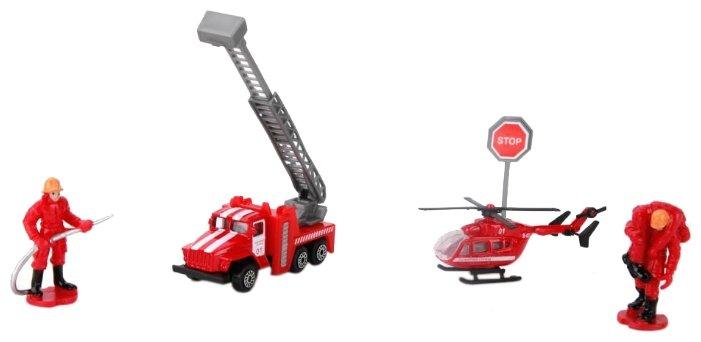 Набор техники ТЕХНОПАРК Пожарная техника Автокран