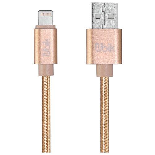 Кабель Ubik USB - Lightning (UL09) 1 м золотойКомпьютерные кабели, разъемы, переходники<br>
