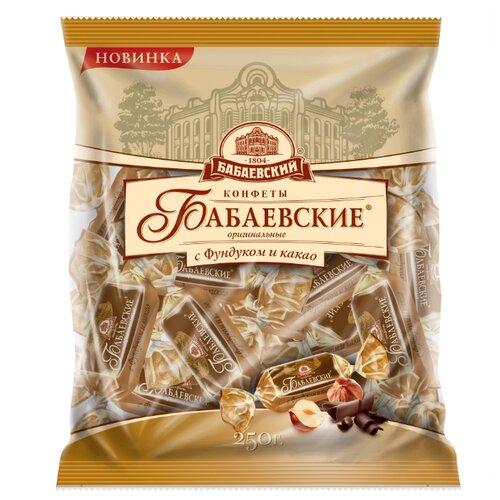 Конфеты Бабаевский Бабаевские Оригинальные с фундуком и какао, пакет 200 г