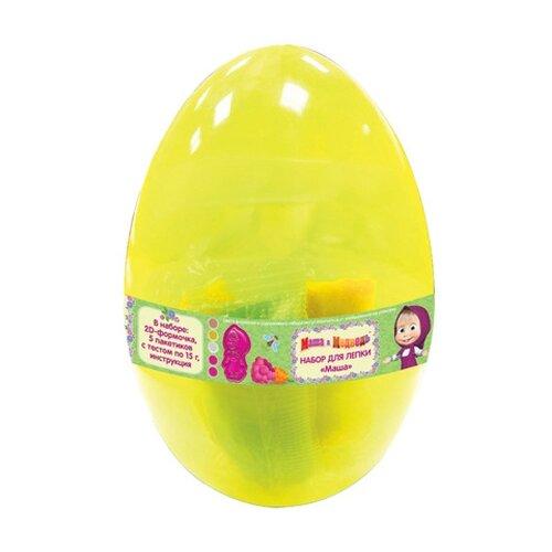 Купить Масса для лепки РОСМЭН Маша и Медведь яйцо 5 цветов по 15г (33519), Пластилин и масса для лепки