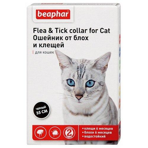 Beaphar ошейник от блох и клещей Flea & Tick для кошек, 35 см, черный ошейник для кошек beaphar от блох и клещей 35см
