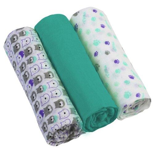 Купить Многоразовые пеленки BabyOno супермягкие муслин 70х70 комплект 3 шт. бирюзовый/белый, Пеленки, клеенки