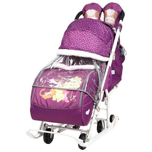 Санки-коляска Nika Disney baby 2 (DB2) с Винни Пухом баклажановый