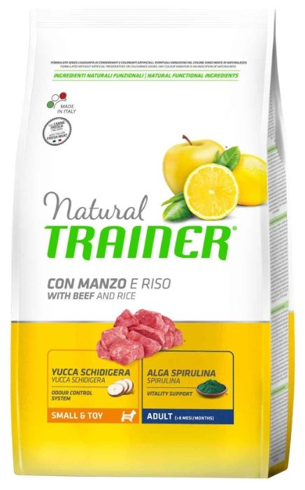 Корм для собак TRAINER Natural Adult Small&Toy Beef and rice dry