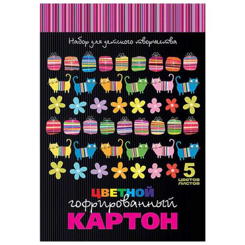 Купить Цветной картон гофрированный Яркие полосы Hatber, A4, 5 л., 5 цв., Цветная бумага и картон