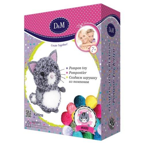 Купить D&M Создаем игрушку из помпонов Котенок (67828) серый/белый, Изготовление кукол и игрушек