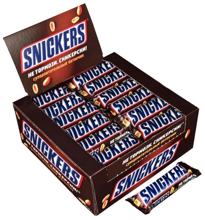 Батончик Snickers с жареным арахисом, 50.5 г, коробка