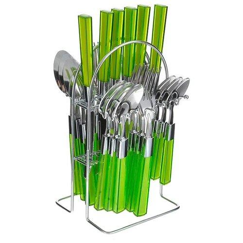 MAYER & BOCH Набор столовых приборов на подставке 20686, 25 шт. салатовый / серебристыйСтоловые приборы<br>